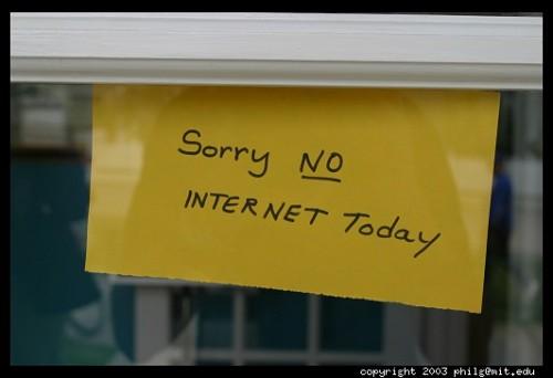 Sem internet hoje!