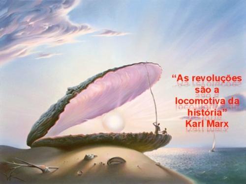 As revoluções são a locomotivas da historia - karl Marx ilustração Vladimir Kush